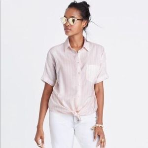 Madewell Tie Front Button-Up Shirt L pink/white